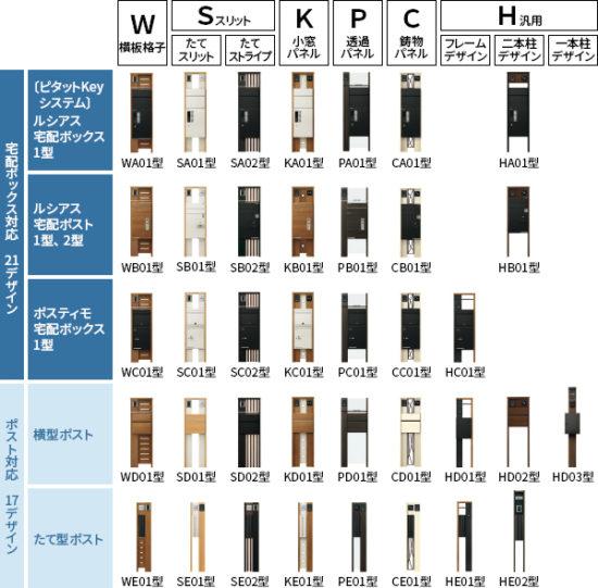 YKKapの門柱のルシアスシリーズの種類